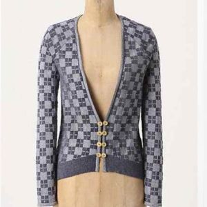 Anthropologie Monogram HWR Checked In Cardigan